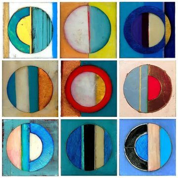 Stupell Industries Circles Yellow and Blue 9pc Canvas Wall Art Set