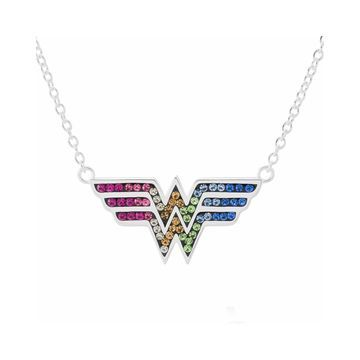 DC Comics Wonder Woman Brass Rainbow Crystal Pendant Necklace