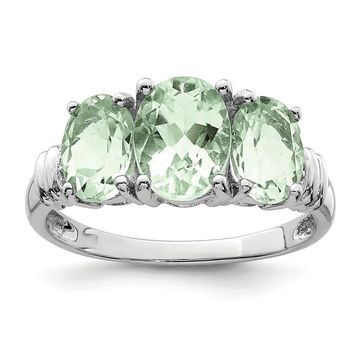 Sterling Silver Rhodium-plated Green Quartz and Diamond Ring by Versil (8)