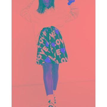Love Moschino all-over love logo mini skirt in black multi