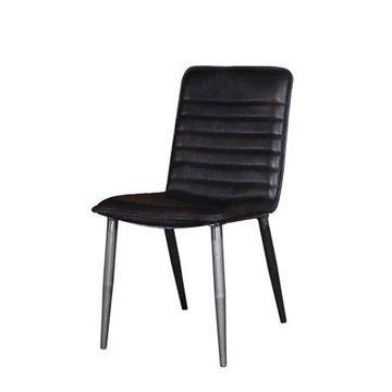 Acme Furniture Hosmer Side Chair (Set of 2), Black Top Grain Leather & Antique Black