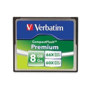 Verbatim Premium - Flash memory card - 8 GB - 60x/66x - CompactFlash - for P/N: 97705, 97706