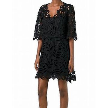 See by Chloe Black Womens Size 40 US 4 Floral Cutout Shift Dress