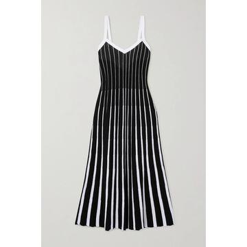 REDValentino - Tie-back Striped Ribbed Cotton Midi Dress - Black