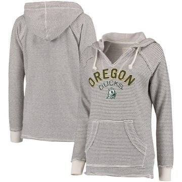 Oregon Ducks Blue 84 Women's Striped French Terry V-Neck Hoodie - Cream
