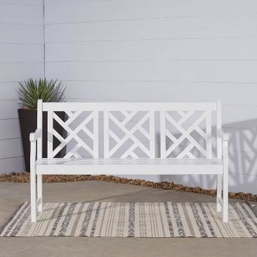Vifah Bradley Outdoor Wood Bench - White