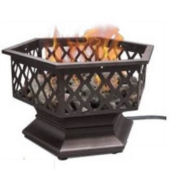 Uniflame Gas Outdoor Fireplace Brushed Oil Rubbed Stainless Steel Burner- Bronze
