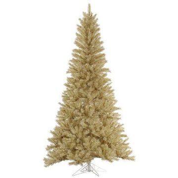 Vickerman 6.5' White-Gold Tinsel Artificial Christmas Tree, Unlit