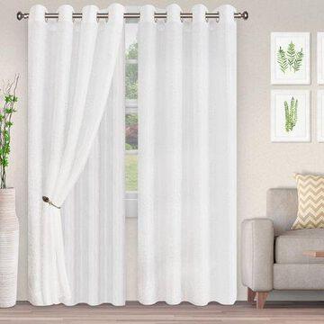 Superior Lightweight Foliage Semi-Sheer Curtain Panels (2) - White