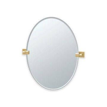 Gatco Elevate Frameless 26.5-Inch x 24-Inch Oval Wall Mirror in Brushed Brass
