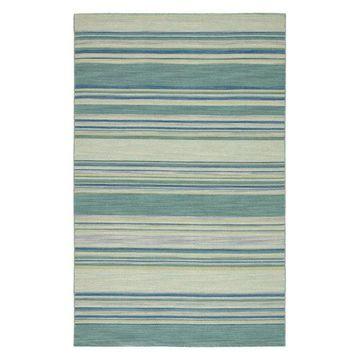 Jaipur Living Kiawah Handmade Stripe Blue/Turquoise Area Rug, 5'x8'