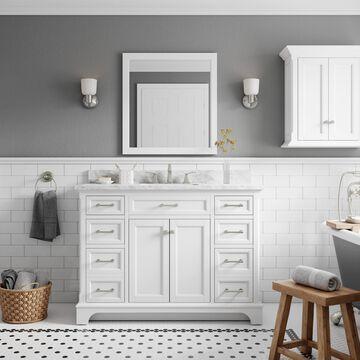 allen + roth Roveland 48-in White Undermount Single Sink Bathroom Vanity with Natural Carrara Marble Top   2026VA-48-201-900