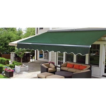 ALEKO Motorized Half Cassette Retractable Patio Awning 20x10 ft Green Color (Green)