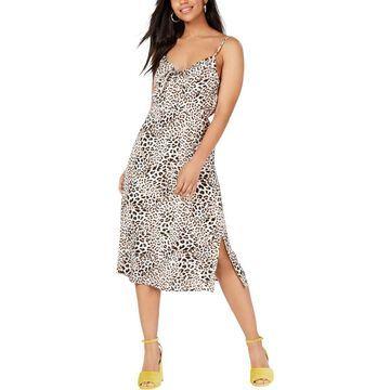 Trixxi Womens Juniors Animal Print Tie-Front Midi Dress