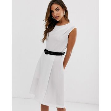 Closet London mini pencil dress with contrast belt detail in white