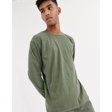 Reclaimed Vintage oversized long sleeve t-shirt in khaki-Green