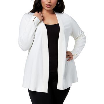 Charter Club Womens Plus Ribbed Trim Open Front Cardigan Top