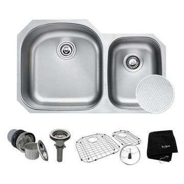 ''Kraus Outlast 33'''' Scratch-Resist Stainless Steel Undermount Double Bowl Sink''