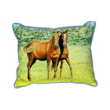 Pair of Betsy Drake Two Horses Large Indoor/Outdoor Pillows 16x20