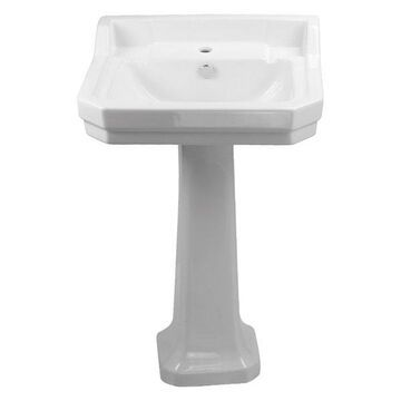 Whitehaus B112M-P Pedestal Sink with Integrated Rectangular Bowl and Overflow