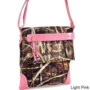 Realtree Camouflage Messenger Bag with Tassel and Stud Accents