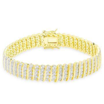 Finesque Sterling Silver 2ct TDW Diamond 'S' Link Bracelet
