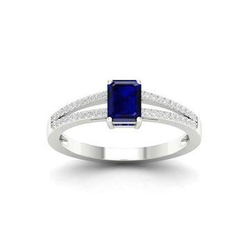 Imperial Gemstone 10K White Gold Emerald Cut Blue Sapphire 1/8 CT TW Diamond Women's Fashion Ring