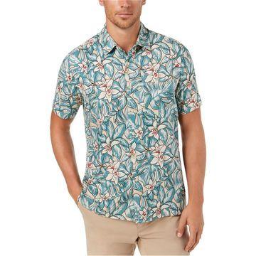 Tasso Elba Mens Floral Button Up Shirt