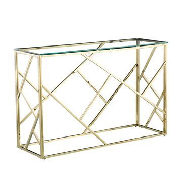 Porthos Home Knox Glam Console Table, Glass Top, Gold Stainless Steel