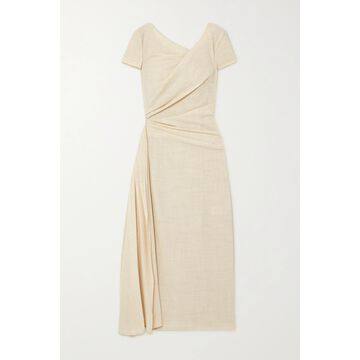 TALBOT RUNHOF - Roya Draped Wool-blend Voile Midi Dress - Cream