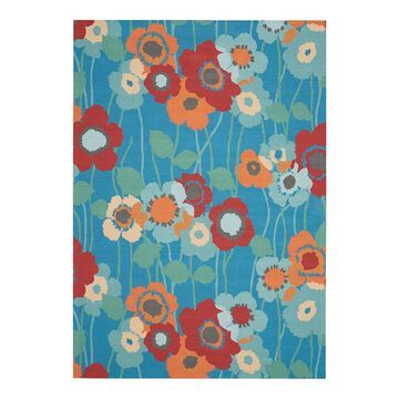 Waverly Sun N' Shade Pick A Poppy Floral Indoor Outdoor Rug, Blue, 4X6 Ft