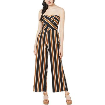 Planet Gold Womens Striped Sweetheart Jumpsuit