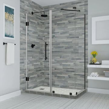 Aston Bromley 72-in H x 35-1/4-in to 36-1/4-in W Frameless Hinged Shower Door (Clear Glass)   SEN967EZORB36223610