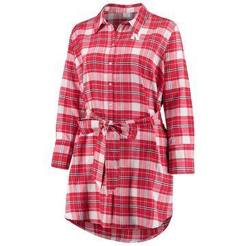Women's ZooZatz Scarlet Nebraska Huskers Plus Size Warmup Flannel Button-Up Dress