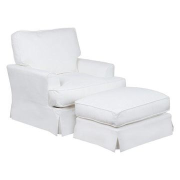 Sunset Trading Ariana Slipcovered Chair & Ottoman, White