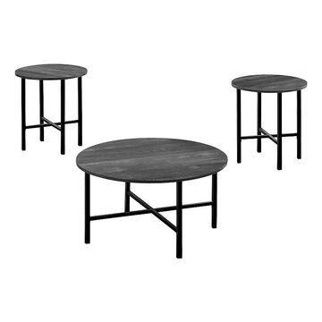 Monarch Round Coffee & End Table 3-piece Set, Black
