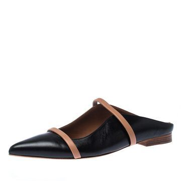 Malone Souliers Black/Beige Leather Pointed-Toe Flats Size 35.5