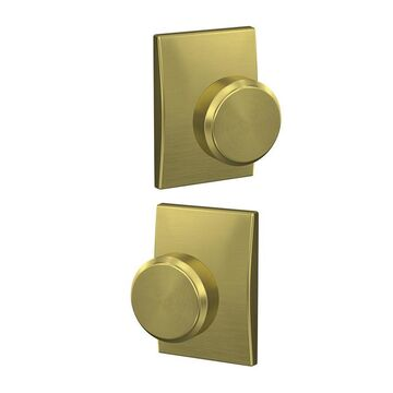 Schlage FC21 BWE/CEN Custom Bowery- Century Satin Brass Combined Door Knob in Gold