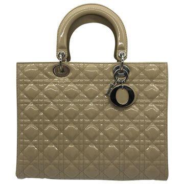 Dior Lady Dior Beige Patent leather Handbags