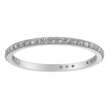 10k White Gold 1/3ct TDW Diamond Eternity Wedding Band By Beverly Hills Charm