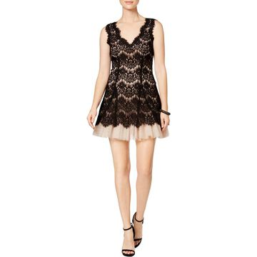 Betsy & Adam Womens Lace V-Neck Cocktail Dress