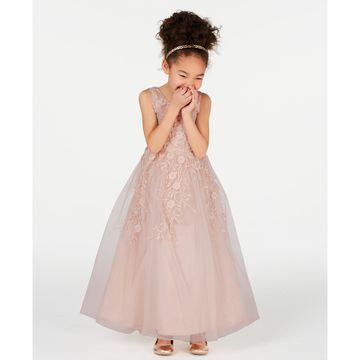 Little Girls Embroidered Mesh Maxi Dress