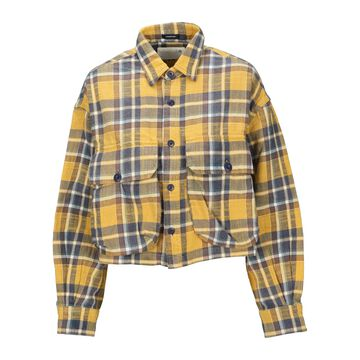 R13 Cropped Flanel Check Shirt