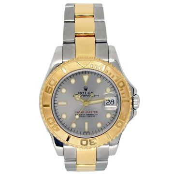 Pre-owned 35mm Rolex 18k Yellow Gold and Stainless Steel Oyster Perpetual Yachmaster Watch - N/A - N/A