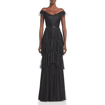 Marchesa Notte Lace Tiered Off-the-Shoulder Gown