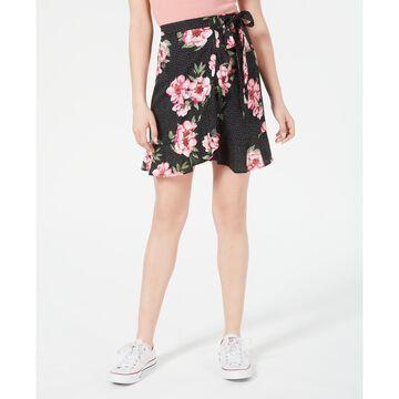 Juniors' Printed Wrap Skirt