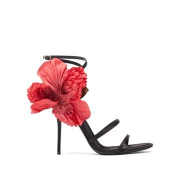 Dolce & Gabbana - Floral-applique Satin Sandals - Womens - Black Red