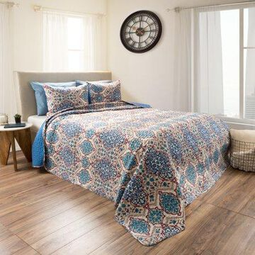 3pc Reversible Microfiber Embossed Quilt Bedding Set With Shams by Somerset Home