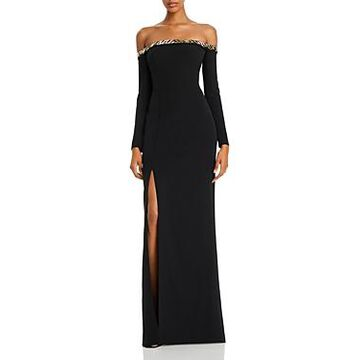 Aidan Mattox Embellished Off-the-Shoulder Gown - 100% Exclusive