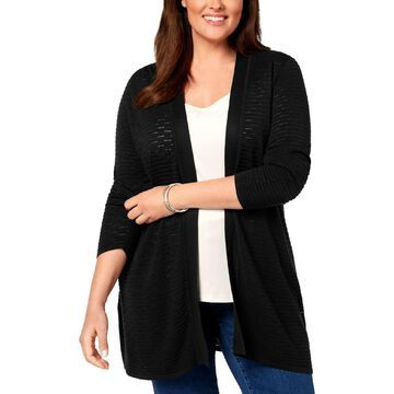 Charter Club Womens Plus Lightweight Open-Front Cardigan Sweater